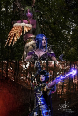 Athariel Cosplay's Blood Elf & GrumpyCait's Night Elf & Phere-Nike's Malfurion Cosplays from Fotocon 2016