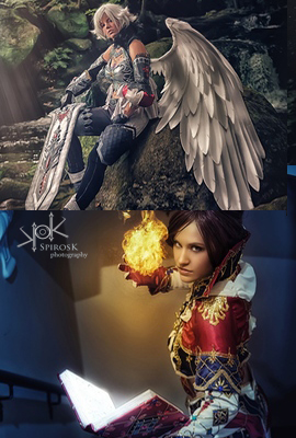 Lineage II Haylin Cosplay's Human Mage & Yosuii Cosplay's Kamael Fighter, from Fotocon 2017